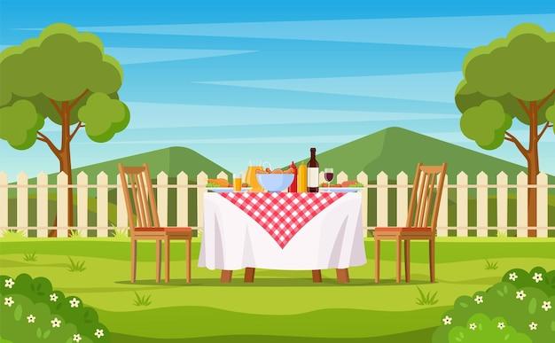 Barbecue feest in de achtertuin met hek, bomen, struiken.