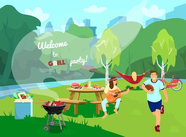 Barbecue feestje. landschap, picknicktafereel. cartoon stijl.