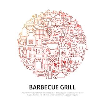 Barbecue grill cirkel concept. vectorillustratie van schetsontwerp.