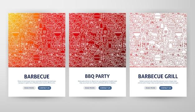 Barbecue grill flyer-concepten. vectorillustratie van overzicht webbannerontwerp.