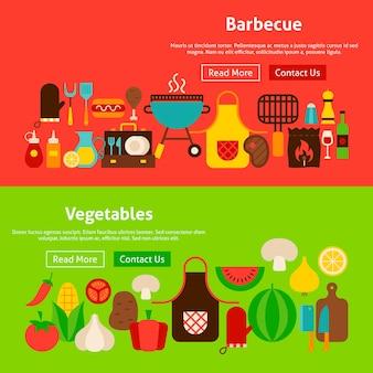 Barbecue groenten website banners. vectorillustratie voor webkoptekst.