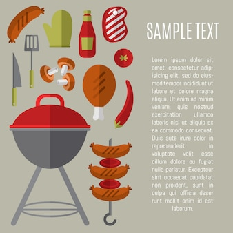 Barbecue illustratie met tekstsjabloon