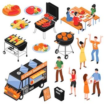 Barbecue isometrische set