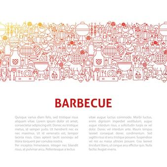 Barbecue lijn ontwerpsjabloon. vectorillustratie van overzicht banner.