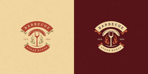 Barbecue logo afbeelding grill steak house set