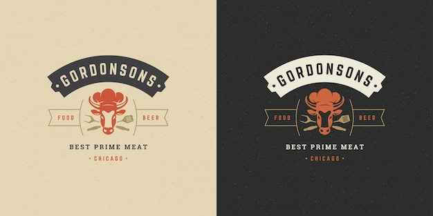 Barbecue logo grill steakhouse of bbq restaurant menu koe hoofd met vlam silhouet