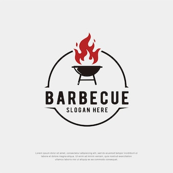 Barbecue logo met cirkel