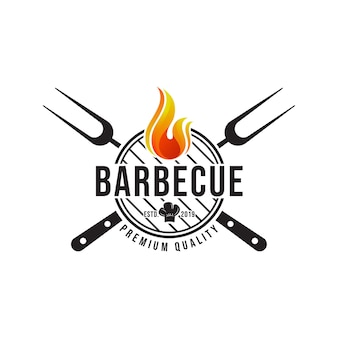 Barbecue logo. plat ontwerp.