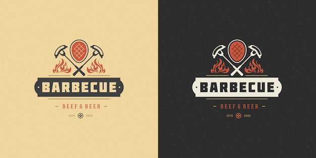 Barbecue logo vector illustratie grill huis of bbq restaurant menu embleem vlees steak