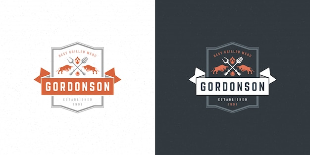 Barbecue logo vector illustratie grill steak house of bbq restaurant menu embleem stieren