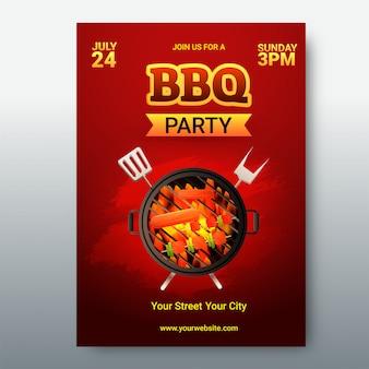 Barbecue menukaart of uitnodiging.