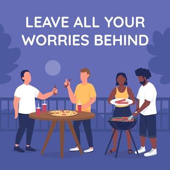 Barbecue met vrienden social media post mockup