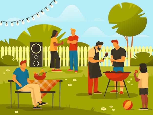 Barbecue of bbq-feest op de achtergrond van de achtertuin