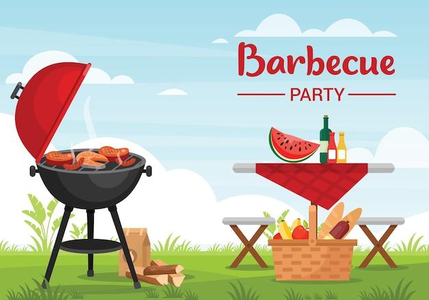 Barbecue partij buitenshuis kleurrijke vlakke afbeelding. bbq-sjabloon voor spandoek met typografie. picknickmand met fruit en stokbrood. grillen met vlees en vis. gezinsrecreatie in de frisse lucht