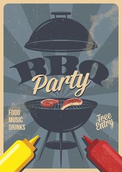 Barbecue partij flyer of poster ontwerpsjabloon. vintage retro stijl. uitnodigingskaart voor een barbecue.