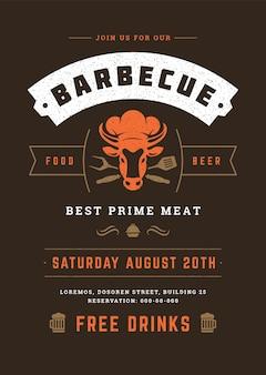 Barbecue partij flyer of poster ontwerpsjabloon