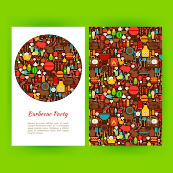 Barbecue partij folder sjabloon. platte vectorillustratie van merkidentiteit voor avontuurlijke promotie.