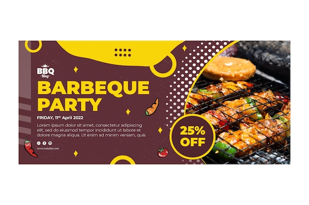 Barbecue partij horizontale sjabloon voor spandoek