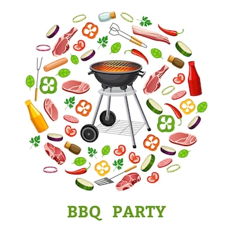 Barbecue partij poster.