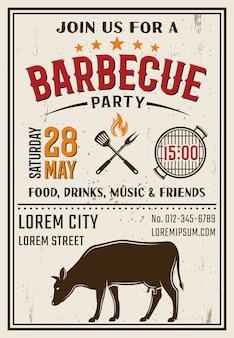 Barbecue partij retro stijl poster
