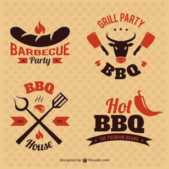 Barbecue party vintage badges