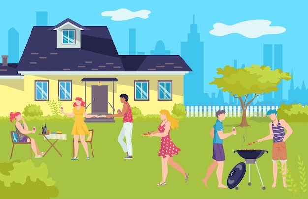 Barbecue-picknick in de zomer, grill-bbq-vakanties