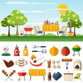 Barbecue picknick pictogrammen compostion banners