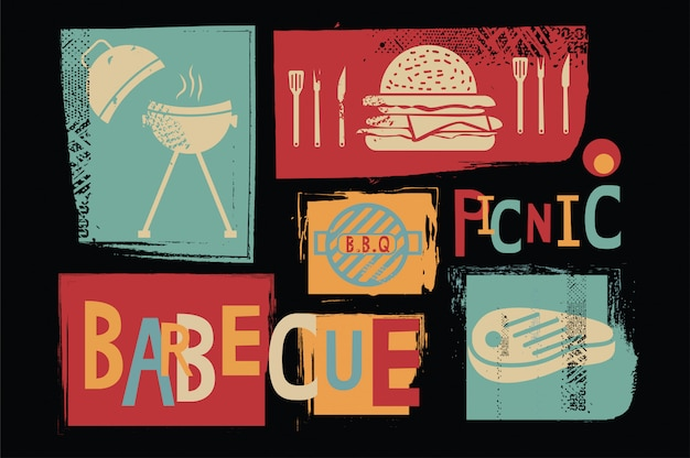 Barbecue picknick vector pictogram