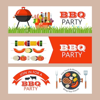 Barbecue-set. vector illustraties. vrolijke schattige chef, vers vlees, groenten, ketchup, mosterd, hout, barbecue en picknickmand.