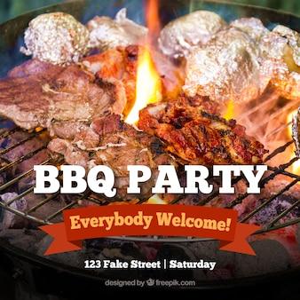 Barbecue uitnodiging, sjabloon met een rood lint