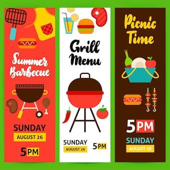 Barbecue verticale flyer set. platte ontwerp vectorillustratie van merkidentiteit voor grill promotie.