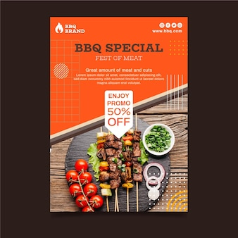 Barbecue verticale poster sjabloon