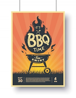 Barbecue vintage poster. bbq tijd. barbecue feestje.