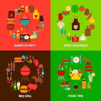 Barbecueconcepten instellen. posterontwerp vectorillustratie. collectie van grill-objecten.