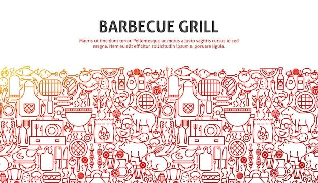 Barbecuegrillconcept. vectorillustratie van lijn website design. sjabloon voor spandoek.