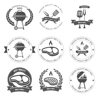 Barbecuepartij en grillfeestemblemen