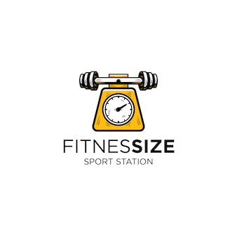 Barbel van fitness en gewicht meetinstrument logo sjabloon