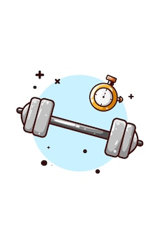 Barbell en stopwatch illustratie
