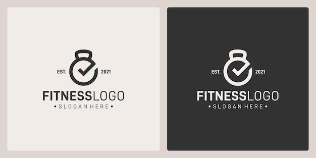 Barbell-logo vorm en vinkje logo. vectorpremie.