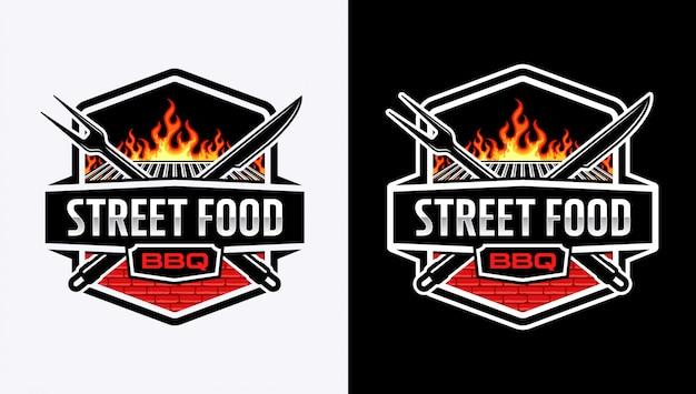 Barbeque-logo met badge-stijl