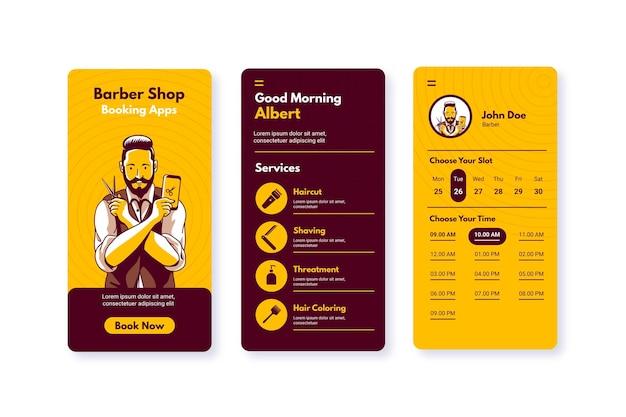 Barber shop boeking app man met een schaar