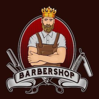 Barber shop king mascotte logo ontwerp