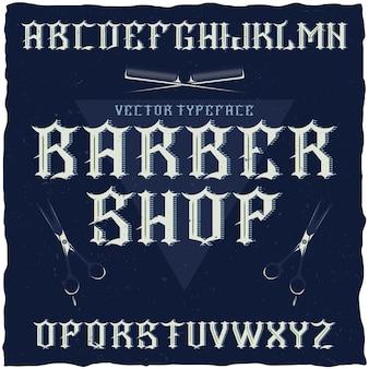 Barber shop lettertype ingesteld