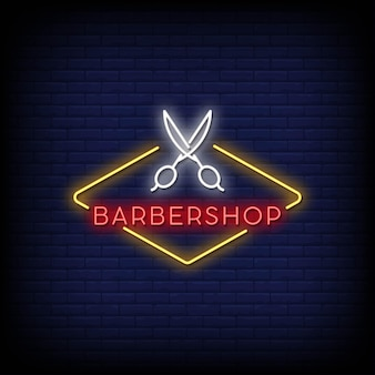 Barber shop neon signs style text vector