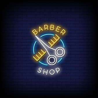 Barber shop neon signs style text