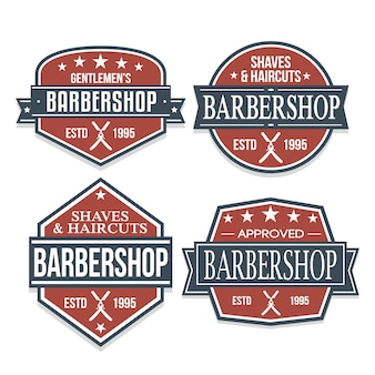Barber shop sticker logo design kleurlabel retro