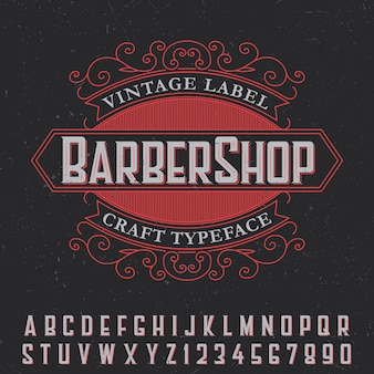 Barber shop vintage label poster met ambachtelijke lettertype op zwart