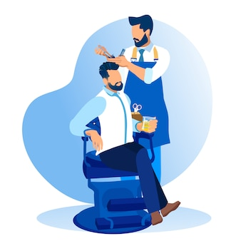 Barber styling client beard in salon barbershop