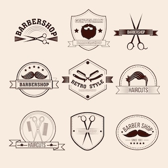 Barbershop-badges in vintage stijl