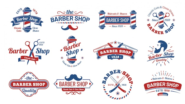 Barbershop badges. vintage kapper label, retro scheer salon badge en gentleman kapsel oude teken illustratie set